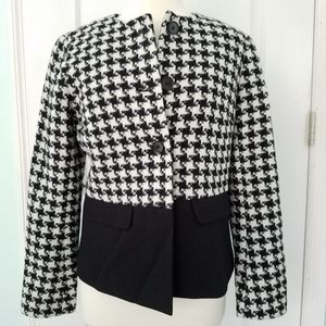 Talbots Jacket NEW Wool Blend Black Houndstooth 4